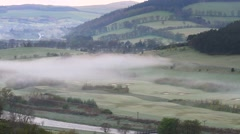 Light morning mist in the Tweed Valley, Scottish Borders Stock Footage