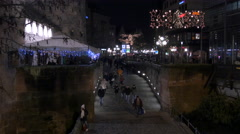 People heading to a passageway on Christmas in Nuremberg - stock footage