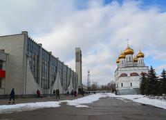 Tver, Russia - February 27. 2016. railway station and Church of a Alexander N - stock photo