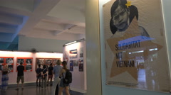 Posters and pictures of the Vietnam War in the War Remnants Museum in Saigon Stock Footage