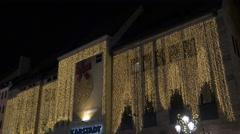 Tilt up view of Karstadt building on Christmas in Nuremberg Stock Footage