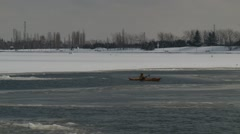 kayaking ice 2 Montreal, Quebec, Canada - stock footage