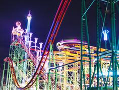 London, UK - December, 16.: Hyde Park, Night time roller coaster - stock photo