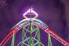 London, UK - December, 16.: Hyde Park, Night time roller coaster Stock Photos