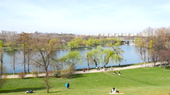 People Walking In Youths Public Park (Parcul Tineretului) In Bucharest In Spring Stock Footage