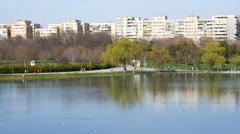 People Walking In Youths Public Park (Parcul Tineretului) In Bucharest In Spring Stock Footage