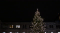 Yellow taxi cabs parked at the Central Station on Christmas in Nuremberg Stock Footage