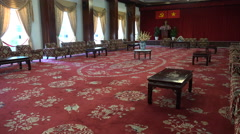 Reception hall in the Independence (Reunification) Palace in Saigon Stock Footage