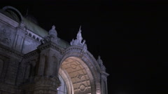 Tilt down of the Central Station's facade on Christmas in Nuremberg Stock Footage