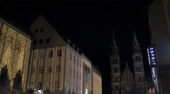 Stores on Karolinenstraße near St. Lorenz Church on Christmas, Nuremberg Stock Footage