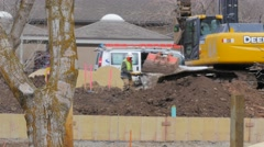 Outdoor Construction Excavating Stock Footage