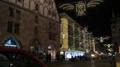 Walking on Königstraße on Christmas in Nuremberg Stock Footage