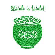Glitter, confetti St. Patrick Day template Stock Illustration