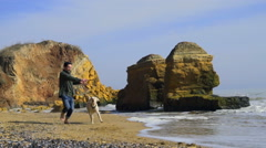 young man playing with his dog on the beach slow motion - stock footage