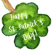 Elegant watercolor St. Patrick Day greeting card - stock illustration
