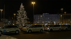 Taxi cabs near Le Méridien Grand Hotel on Christmas in Nuremberg Stock Footage