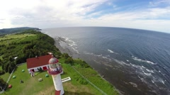 Cap de Madelaine lighthouse, Gaspesie, Saint Lawrence River, Quebec,4 Stock Footage