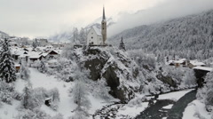 Swiss Winter Landscape and River Stock Footage