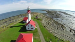 Metis lighthouse, Gaspesie, Saint Lawrence River, Quebec,1 Stock Footage