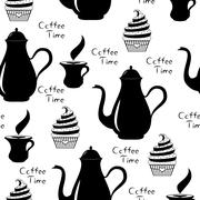 Seamless of Coffee time with coffee pot, cup of coffee and cupcake - stock illustration