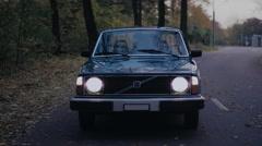 Couple drive retro car - stock footage