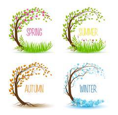 Vector seasonal tree Stock Illustration