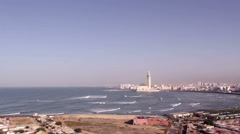 Lighthouse El Aank top view to Grande Mosquee Hassan II and bay in Casablanca. Stock Footage