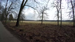Looking right over towards grass field moving fast over forest road showing 4k Stock Footage