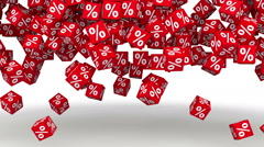 Percentage symbol red cubes falling and filling the background Stock Footage