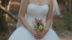 Bride hold wedding bouquet Stock Footage