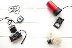 Photometer, camera, reels and red light seen from above Stock Photos