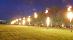 The fire show in the yard in Versaille Stock Footage