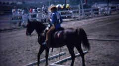 1972: Horse dressage reining event careful stepping obstacle course. Stock Footage