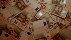 Euro Banknotes Falling Down to Money Background Stock Footage