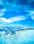 Close up water on a background of blue sky - stock photo