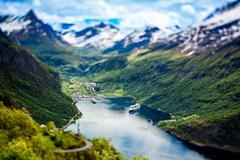 Geiranger fjord, Norway (tilt shift lens). Stock Photos