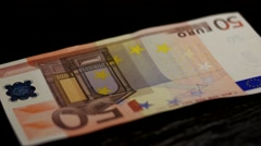 Close Shot of Hands Counting Euro Money Bills Stock Footage