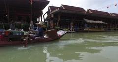 Colorful Scenic old Floating Market,Canoe,Bangkok  Thailand POV 4K 5 Stock Footage