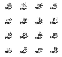 hand and money icon set - stock illustration