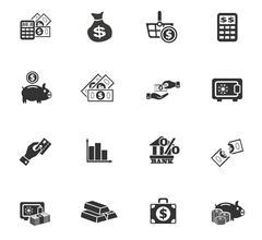 Hand and money icon set Stock Illustration