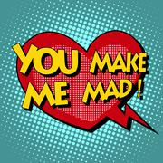 you make me mad comic bubble retro text - stock illustration