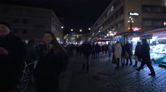 Walking on Königstraße, near Berlitz language school on Christmas, Nuremberg Stock Footage