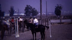 1967: Horse stepping sideways in dressage reining competition. Stock Footage
