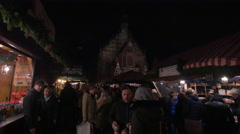 Wooden booths at the Christmas market in the Hauptmarkt, Nuremberg Stock Footage