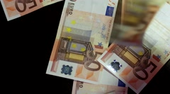 Counting Euros. Euro Banknotes Falling Down to Table Stock Footage
