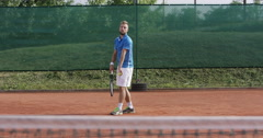 4K Professional Tennis Player Wins The Game Stock Footage
