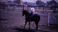 1967: Show Horse reining dressage reverse stepping past course. Stock Footage