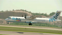 The flybe airjets lands on the runway Stock Footage