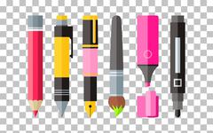 Painting Tools Pen Pencil and Marker Flat Design Stock Illustration