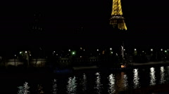 The Eiffel Tower in Paris. Night. France. Stock Footage